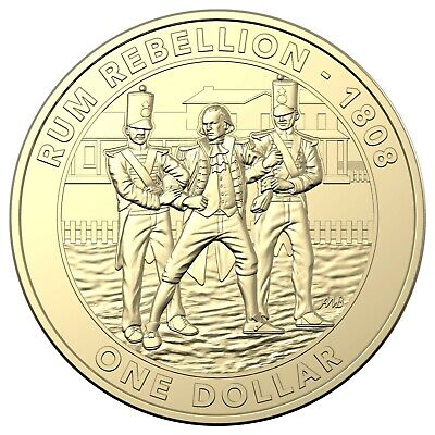 Australia 2019 The Rum Rebellion $1 One Dollar UNC Coin in Card RAM
