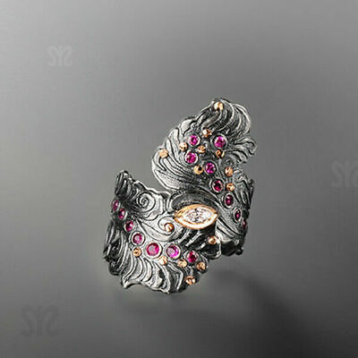 Ancient 925 Silver White Sapphire Women Wedding Leaf Ring Gift Jewelry Size 6-10