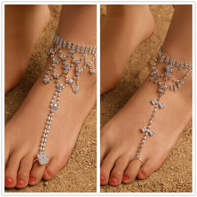 1 Pc Tibetan Boho Indian Silver Anklet Bracelet Foot Chain Dangle Fringed Flash