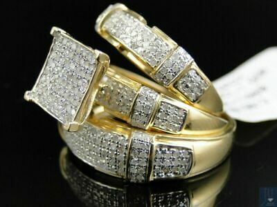 3Pcs/Set Luxury 18K Gold Filled White Sapphire Ring Women Men's Wedding Jewelry