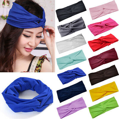 UK Women Girl Turban Twist Knot Head Wrap Headband Twisted Knotted Hair Band