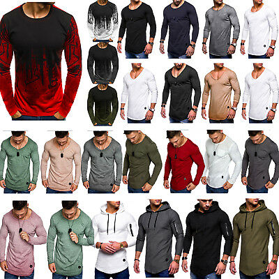 Mens Long Sleeve T-Shirt Slim Fit Casual Shirts Blouse Pullover Tops Muscle Tee