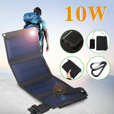 10W 2*USB Solar Panel Folding Power Bank Outdoor Camping Hiking Battery Charger