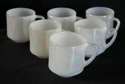 vintage Fire King pearl lustre mugs x 6 ANCHOR HOCKING vgvc