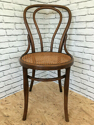 Ancienne Chaise Bistrot Bois Courbe Cannee Josef Hofmann Type Thonet