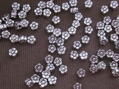 50 Antique Silver Coloured 5mmx3mm Flower Spacer Beads #sp1360 Jewellery Making