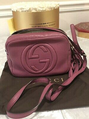 8cb58322b46163 GUCCI Soho Disco Pebbled Leather Small Crossbody Bag. Gorgeous Blush/Mauve  color