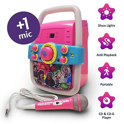 Kids Bratz Karaoke Machine and CD Player Flashing Lights Microphone Childrens