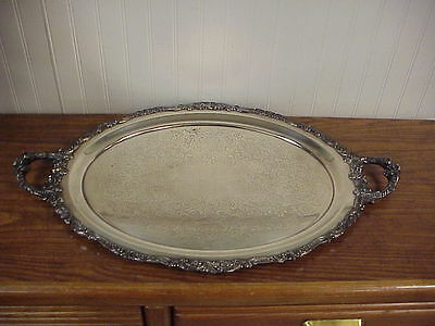 """Wallace Baroque Silver Plate Oval 23"""" 2 Handle Tray"""