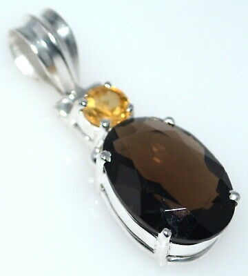 Smoky Quartz Topaz Citrine Pendant Solitaire Gem 925 Sterling Silver NEW