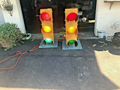 "Lot 2 Vintage working Eagle Traffic Signals mounted on platforms with 15"" cords"