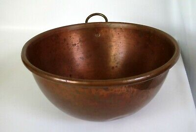 "Vintage Copper Mixing 8-1/2"" Bowl w/ Rolled Lip, Brass Hanging Ring"