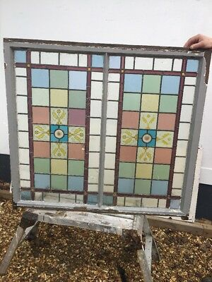 Large Victorian Stained Glass Window Panel Antique Period Lead Old Hand Painted