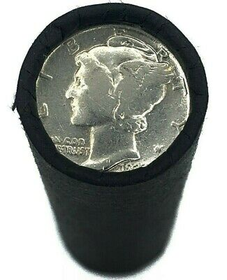Vintage Silver Mercury Dime on Rare Wheat Penny Roll Old US Coins Estate Sale! $