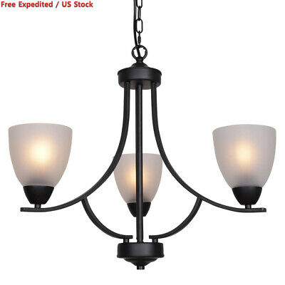 VINLUZ 3 Light Shaded Contemporary Chandeliers with Alabaster Black-355-3