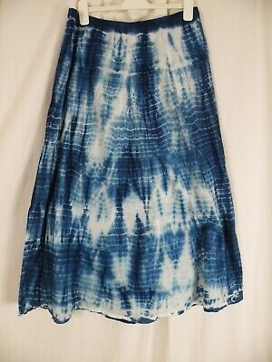 065ca23240 Chico's Blue Tie Dye Elastic Pull On Waist Cotton Maxi Skirt Lined Size 2  12-