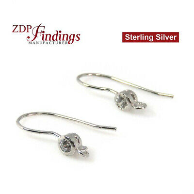 Sterling Silver 925 Rhodium Coated French wire Earring Blank with CZ
