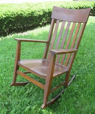 Antique vintage Mission Rocker Rocking Chair Ford & Johnson Chicago stickley ish