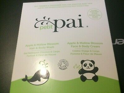 petit pai sample set for babies 15ml body wash  15ml body cream bath sponge new