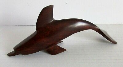 "Wood Dolphin Figure Hand Carved Dark Wooden Statue Figurine 8"" x 3""  Sculpture"