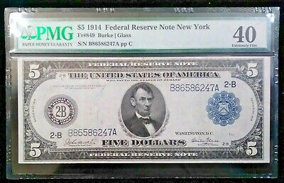 1914 $5 Federal Reserve Note - New York - FR-849 - PMG 40 - Extremely Fine