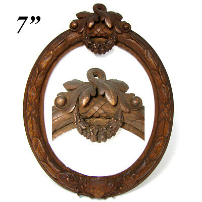 "Antique Victorian Era Carved Wood 7"" Tall Picture Frame, Laurel Wreath, Garland"