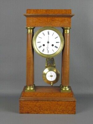Antique Important Clock Pendulum with Column Empire in Wood & Bronze