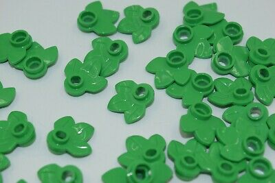 LEGO New Lot of 2 Bright Green 1x1 Round Plates with 3 Leaves