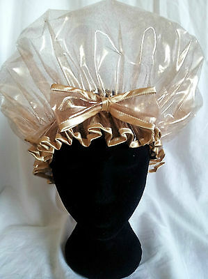 Handmade Gold Countess Shimmer Shower Cap with Bow