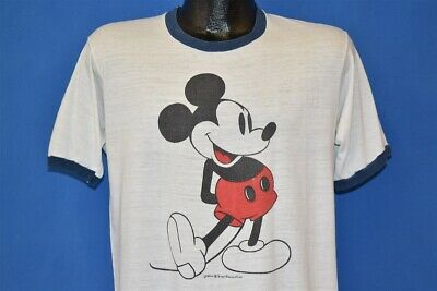 0e8afa051 vintage 70s MICKEY MOUSE DISNEY WHITE BLUE RINGER SOFT CLASSIC t-shirt  MEDIUM M