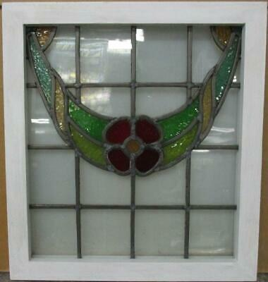"OLD ENGLISH LEADED STAINED GLASS WINDOW Gorgeous Floral Swag Design 19"" x 20.75"""