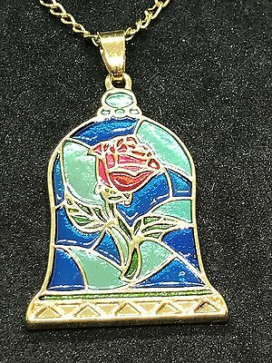 "Rose Stained Glass Look Bell Gold Charm Tibetan Silver 18"" Necklace D543 *1*"