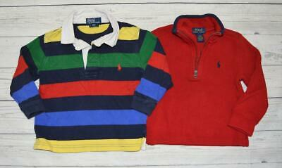 LOT 2 Toddler Boys 2T POLO By Ralph Lauren Long sleeve Logo Shirts Red Blue