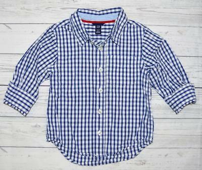 Toddler Boys 4T BABY GAP Long sleeve Button Front Dress Casual Shirt Blue Plaid