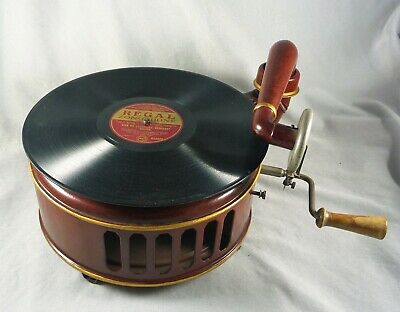 Wonderful Rare Antique Estate  Early Metal 78Rpm Record Player Gramophone