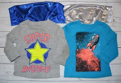 Infant Boy 12m LOT 2 CIRCO Long Sleeve Graphic Tee Shirts With Capes Awesome