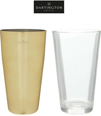 DARTINGTON Stainless Steel Gold Cup 700ML & Glass 500ML Cocktail Shaker Bar Set
