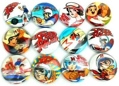 "12 GO SPEED RACER 1"" Buttons Pinbacks Pins Badges One Inch TV Cartoon Car Racing"