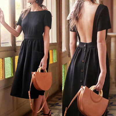 Women's Fashion Summer Casual Sexy Backless Button Solid Party MIni Dress CA