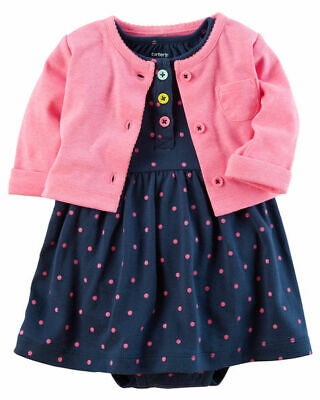 Baby/Reborn doll CARTERS Bodysuit  Dress set. 0000 N/B BNWT (Hot pink Navy)