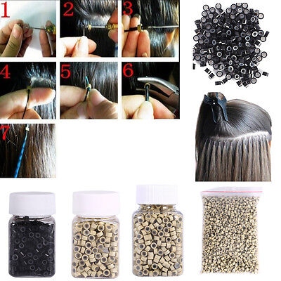 2000pcs 4/5mm Silicone Lined Micro Nano Ring/Bead for Feather Hair Extensions dh