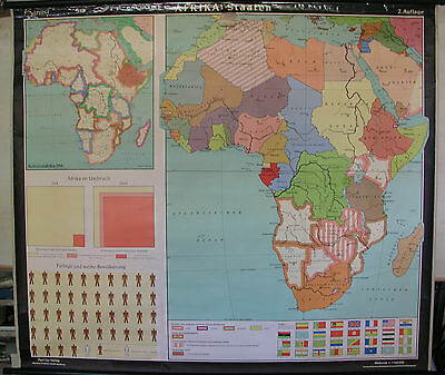 Schulwandkarte Wall Map School Map Africa Countries States 60 7,5M 155x135