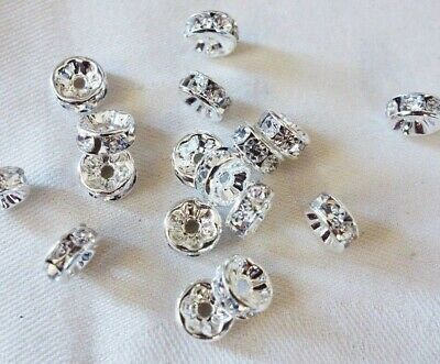 25 Silver Coloured 3mm x 8mm Rhinestone Rondelle Spacers #3748 Jewellery Making