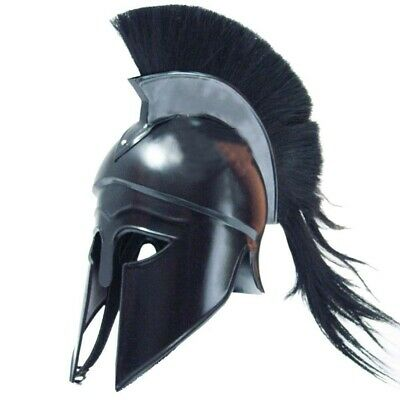 Corinthian Roman Greek Ancient Costume Armour Helmet with Black Plume+FREE LINER
