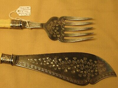 Beautiful engraved Thomas Wilkinson & son antique silver serving set 1875