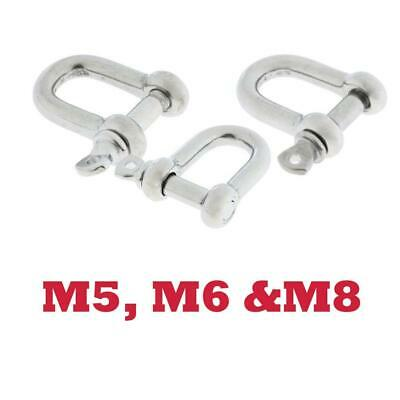 Set of 3 Stainless Steel D-Shackle Chain Shackle Rigging Marine Grade