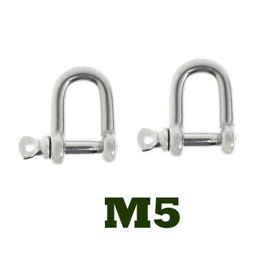 2xM5-5mm Stainless Steel D-Shackle Chain Shackle Rigging Marine Grade