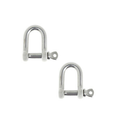 2xM6-6mm Stainless Steel D-Shackle Chain Shackle Rigging Marine Grade