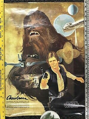 VTG Original 1977 Star Wars Chewbacca Coca Cola/Burger King Promo Poster 18x24