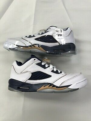 9c30d81cad8 Kids Air Jordan 5 Retro Low GS Dunk From Above White Gold Navy 314338-135